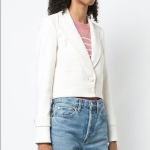 Veronica Beard Ivory Cropped Buttoned Up Jacket